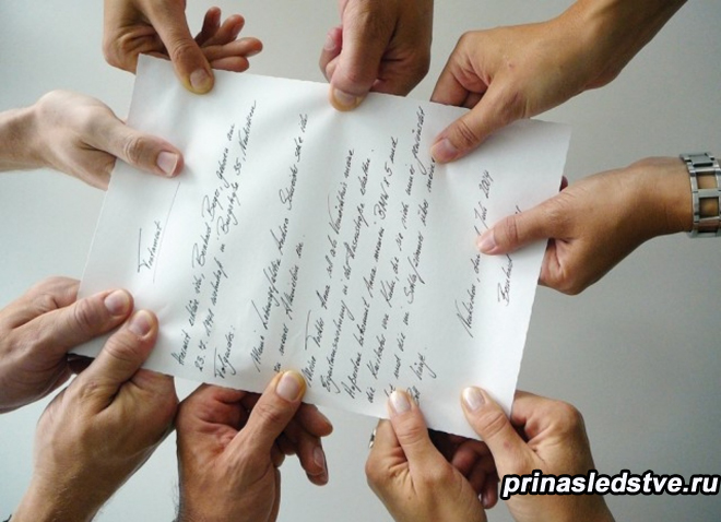 Люди делят бумагу между собой