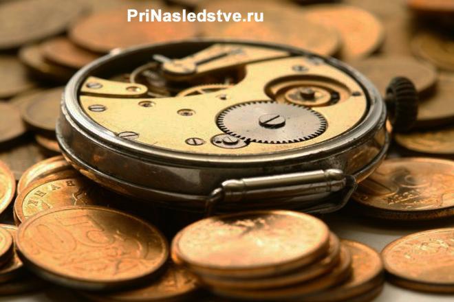 Монеты, наручные механические часы