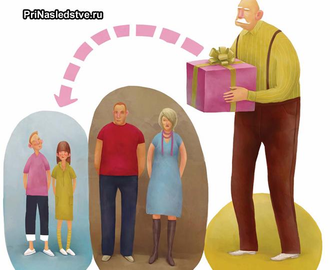 Дедушка с подарком, внуки, дети