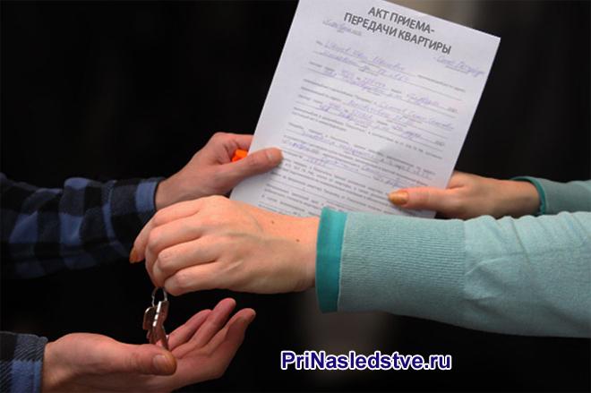 Девушка в голубой кофте передает документ мужчине в клетчатой рубашке