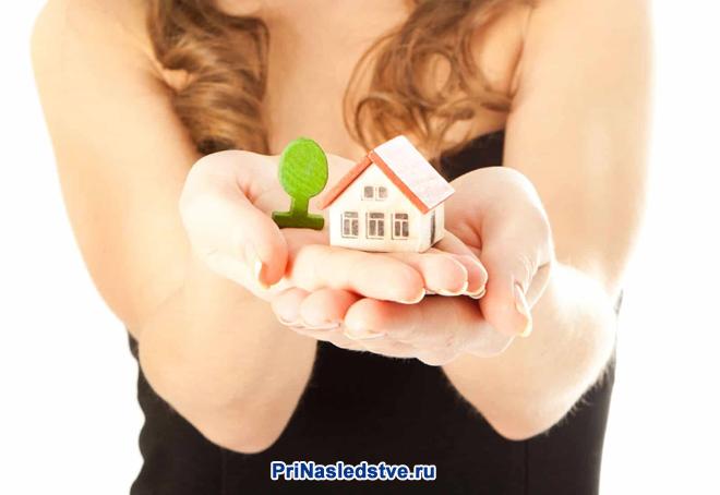 Девушка в черной футболке держит в руках игрушечный домик и деревце