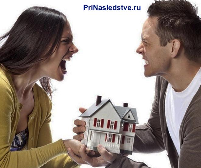 Муж и жена ругаются друг на друга и держат в руках игрушечный домик