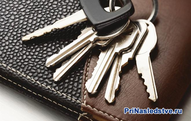 Связка ключей лежит на кошельке