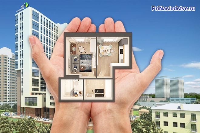 План квартиры в руках человека