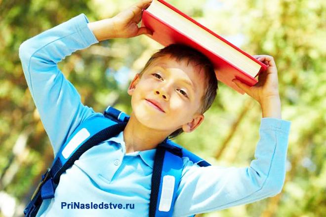 Мальчик идет с книжкой из школы