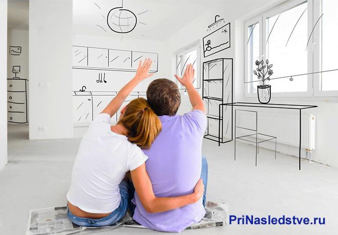 Семейная пара в нарисованной комнате
