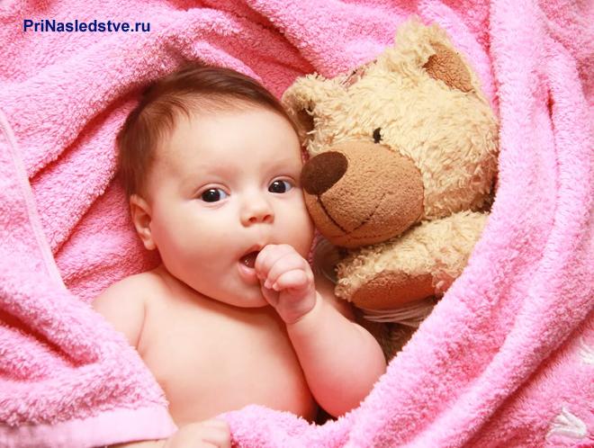 Девочка в розовом пледе с игрушкой