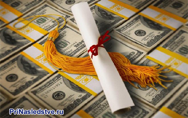 Доллары, свиток бумаги