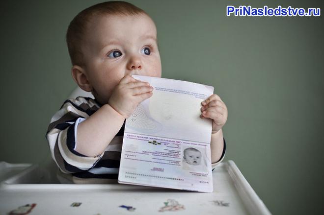 Малыш сидит за детским столом си держит документ