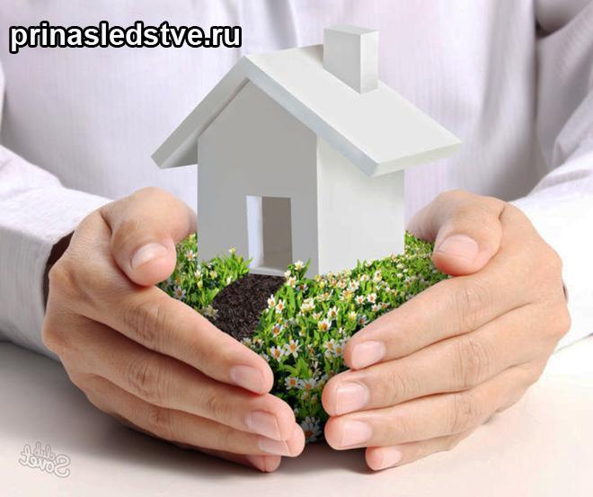 Человек держит в руках игрушечный домик на лужайке