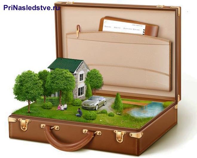 Коричневый чемодан, внутри которого находится дачный участок с домом