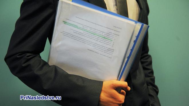 Бизнесмен с папкой документов