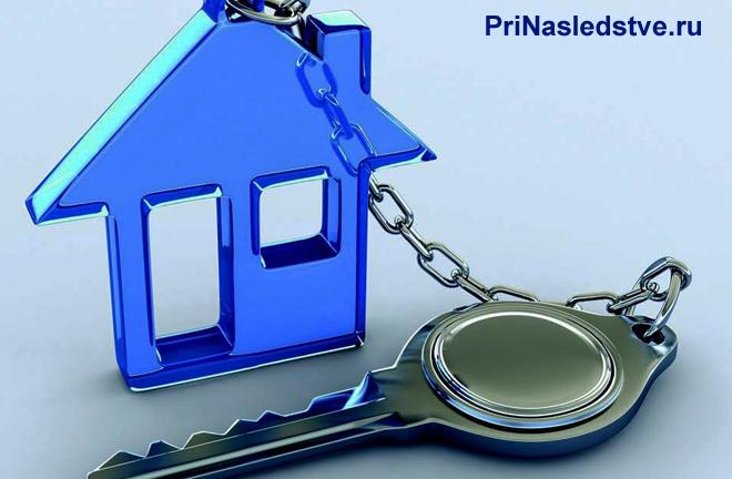 Ключ с брелком в виде синего домика