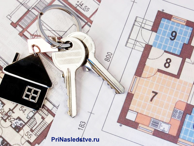 Ключи с брелком в виде домика лежат на плане дома